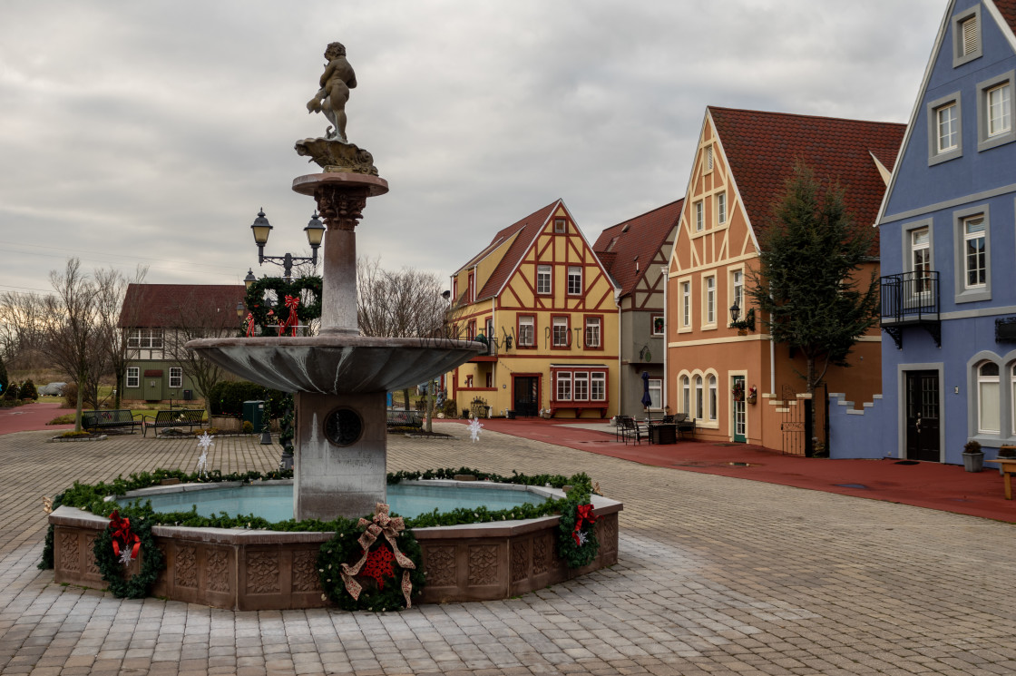 """""""Water Fountain in Village Plaza"""" stock image"""