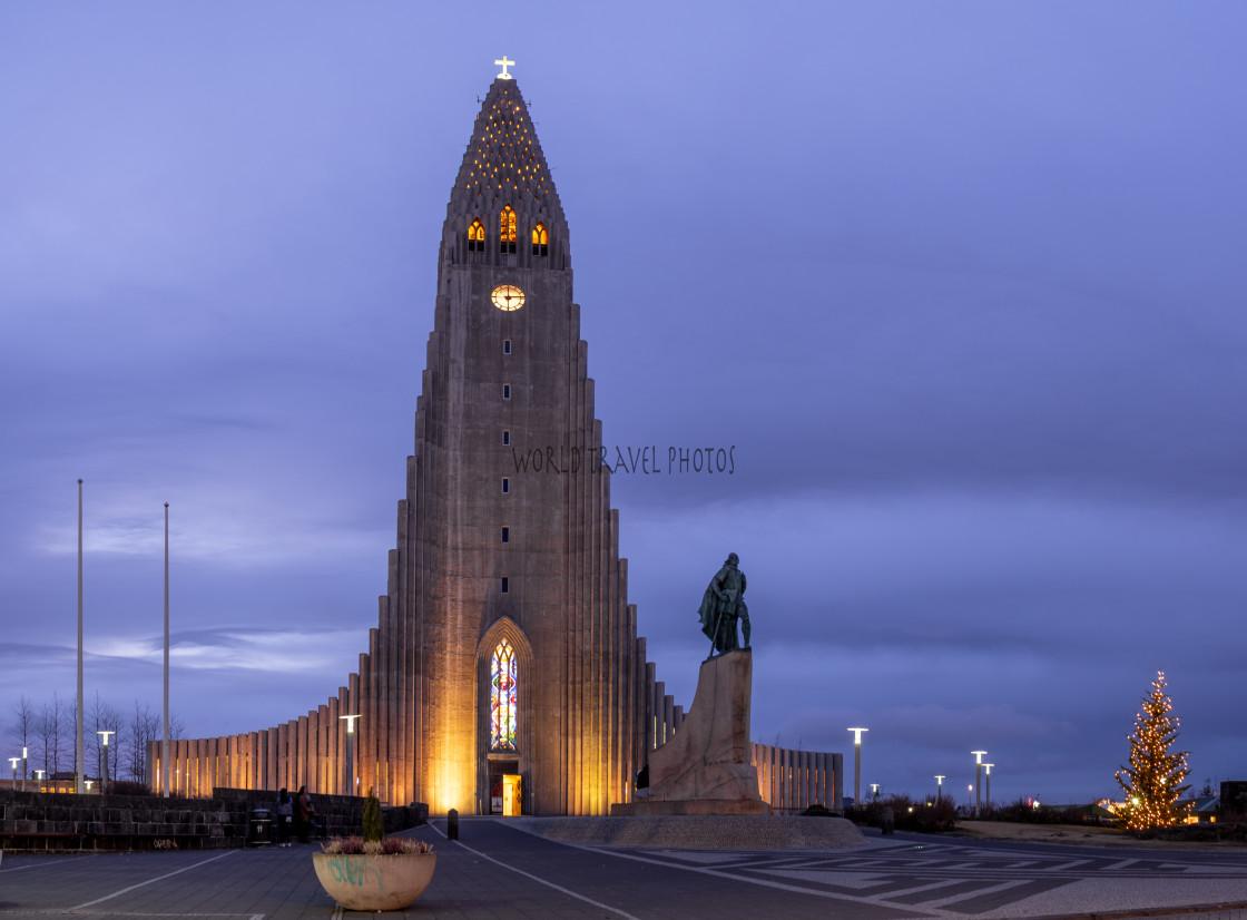 """Hallgrímskirkja Church at Night"" stock image"