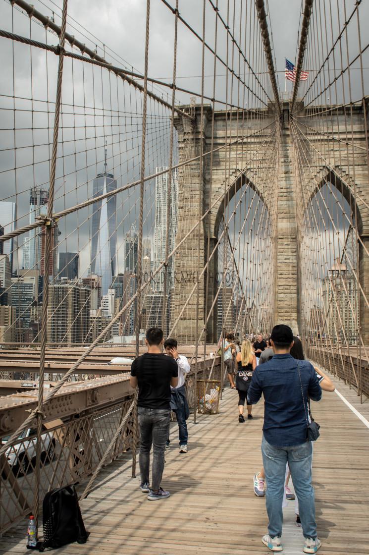 """People on Brooklyn Bridge"" stock image"