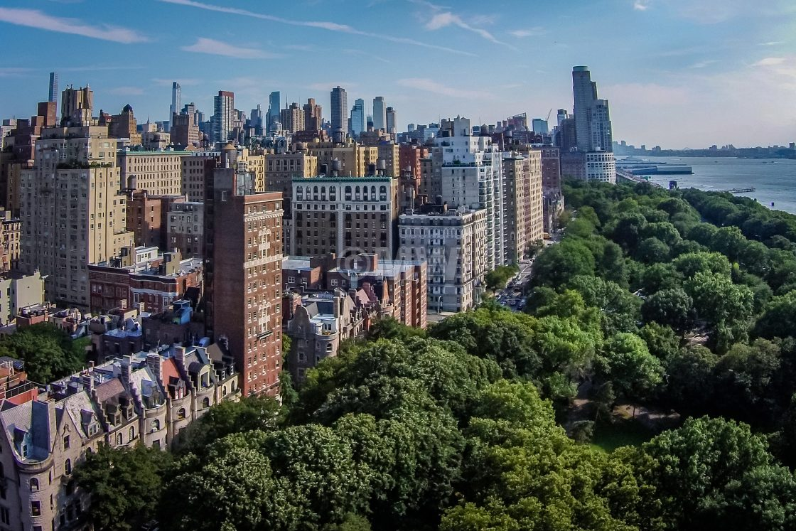 """""""Manhattan Upper West Side with Riversiide Tower Hotel (aerial)"""" stock image"""