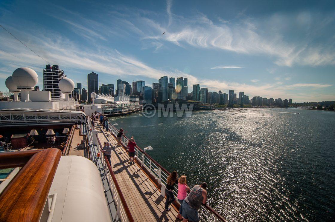 """Departure: Holland America line ms Noordam aft + Vancouver skyli"" stock image"