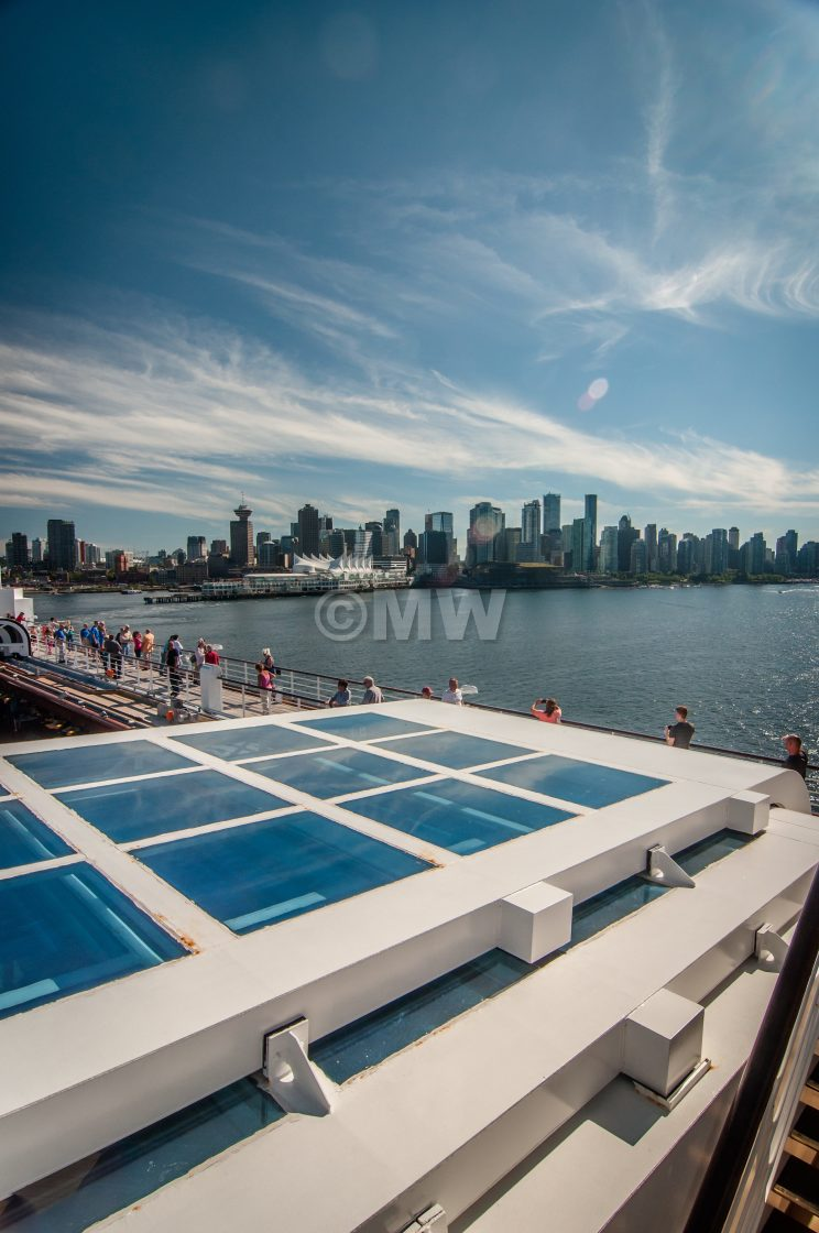 """ms Noordam aft + Vancouver skyline"" stock image"