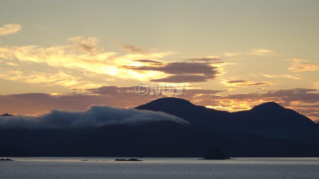 """Alaskan coast sunset,"" stock image"