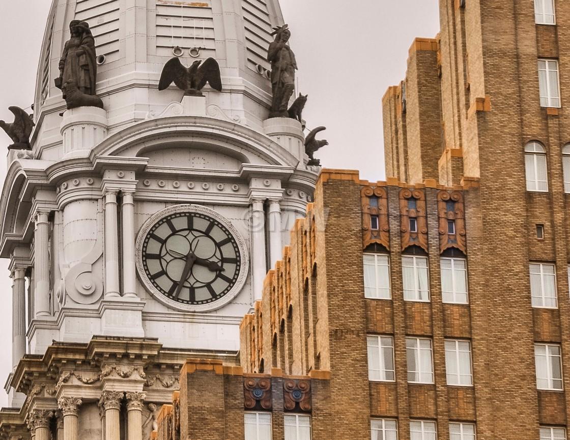 """Philadelphia City Hall Tower & Market St. National Bank details"" stock image"