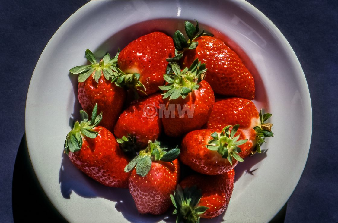 """""""Strawberries in a white bowl"""" stock image"""