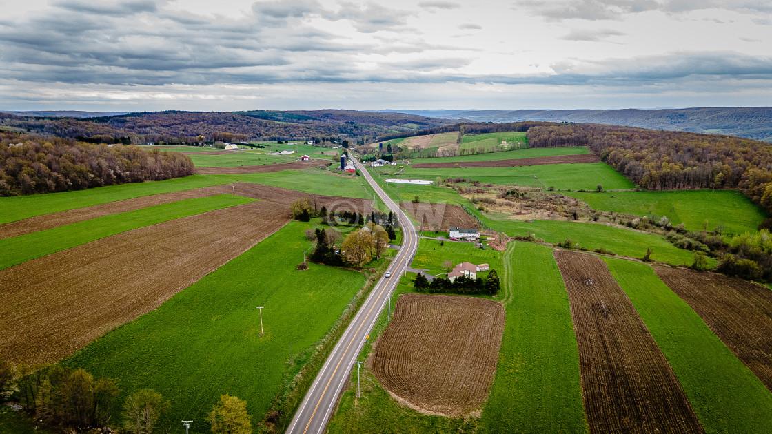 """Finger Lakes farmland, aerial"" stock image"