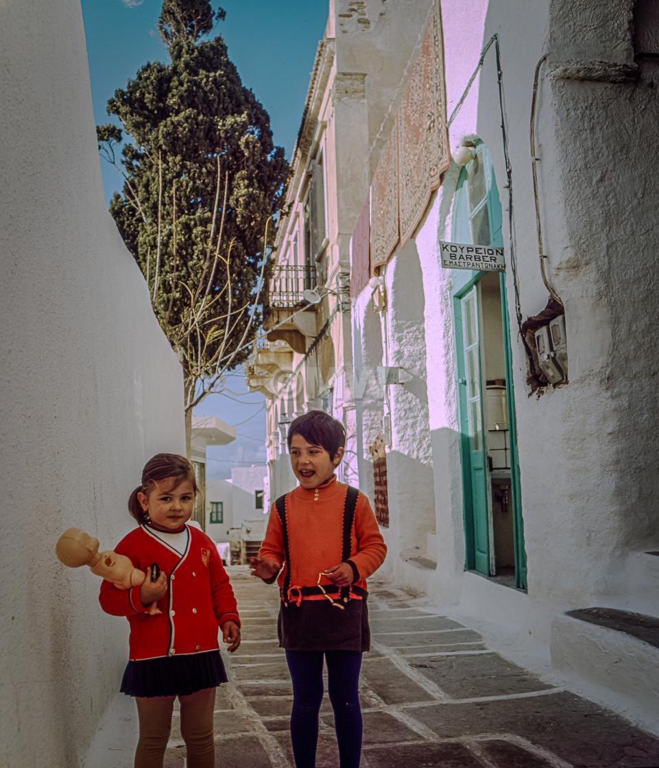 """Two children, Chora, Ios,1972"" stock image"
