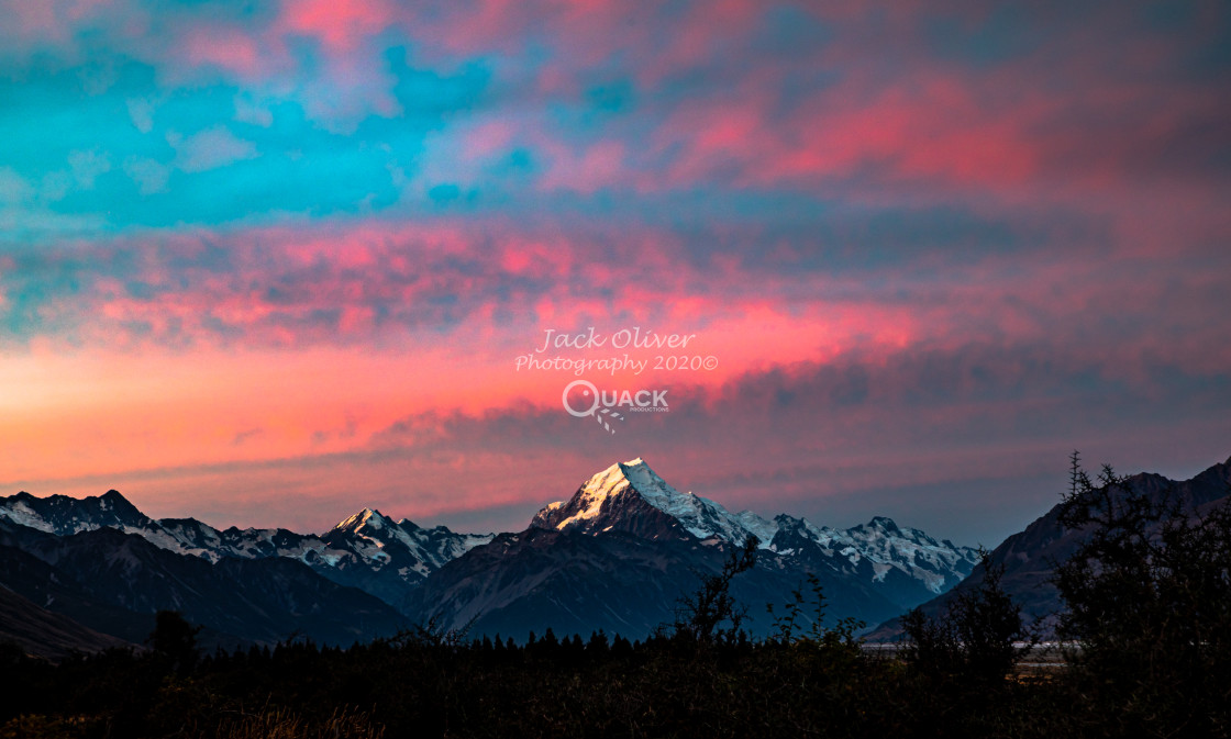 """MT. Cook & Pink Skies"" stock image"