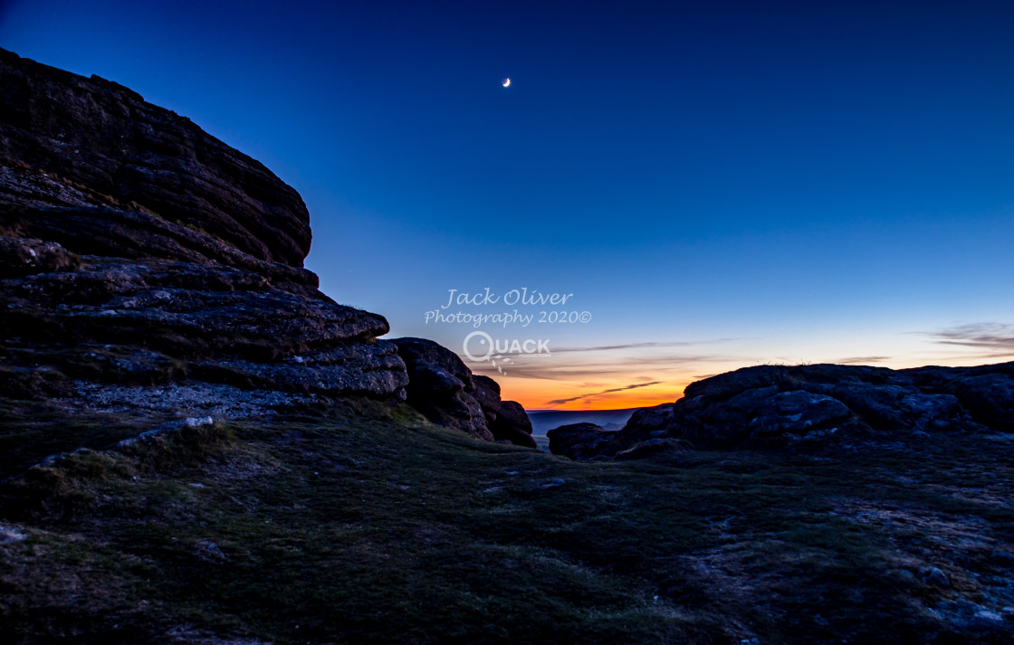 """""""Haytor and the Crescent Moon"""" stock image"""