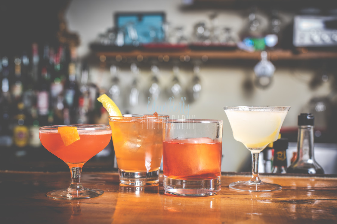 """Four cocktails"" stock image"