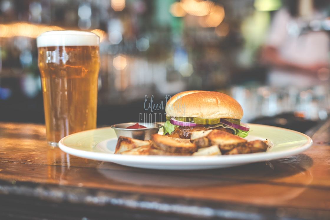 """Burger and a beer"" stock image"