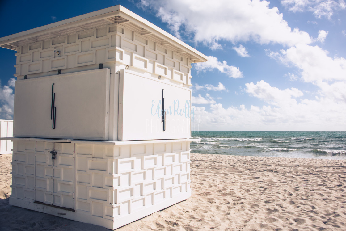 """A white beach hut"" stock image"