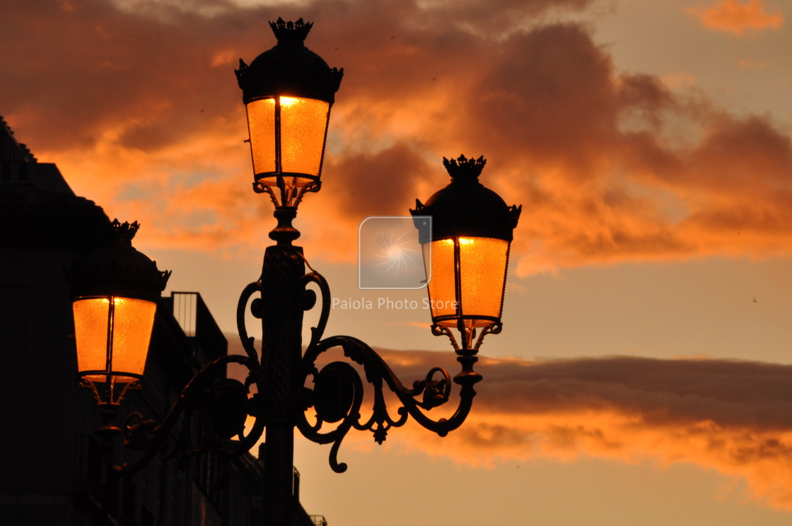 """sunset with lamppost"" stock image"