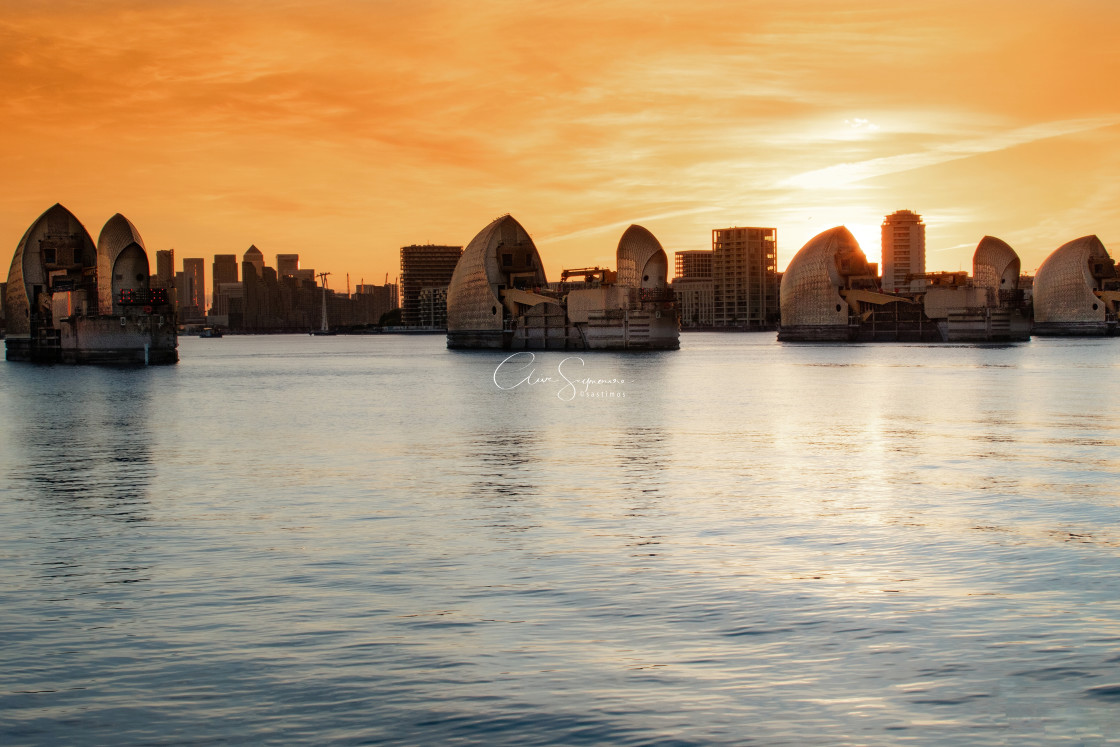 """Thames Barrier Sunset"" stock image"