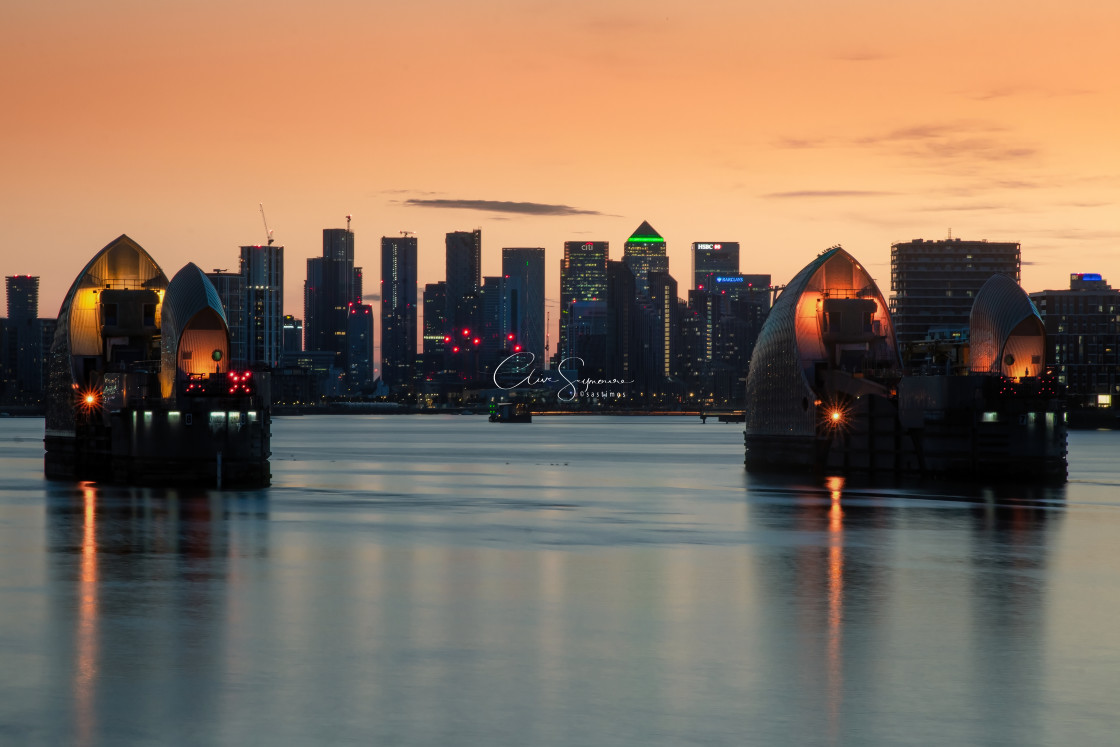 """Thames Barrier night shot"" stock image"