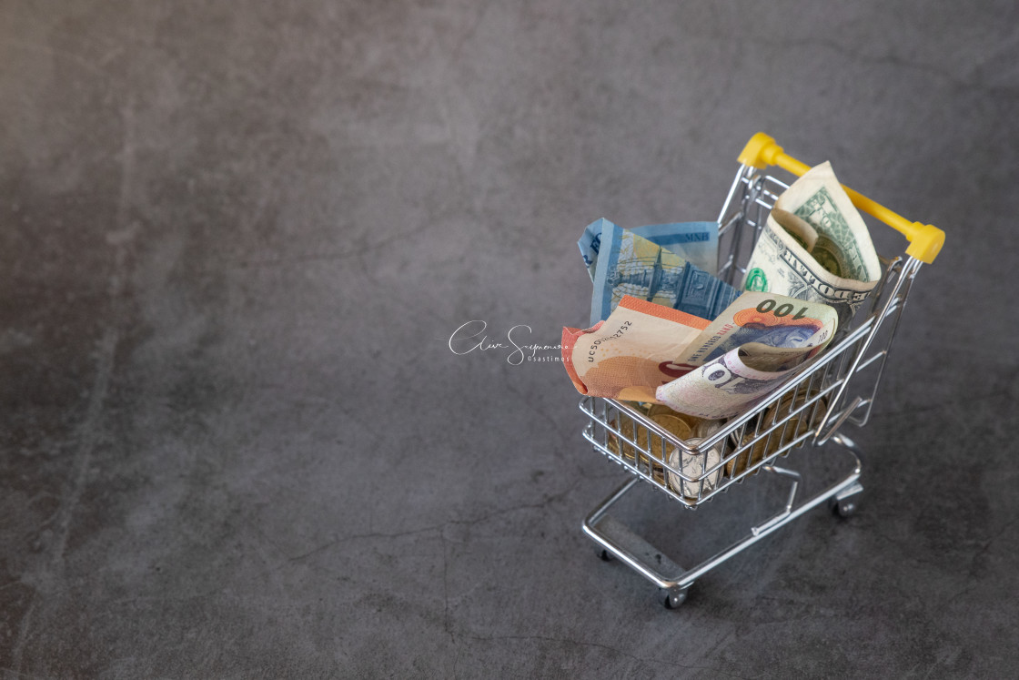 """""""Shopping cart with currency (R)"""" stock image"""