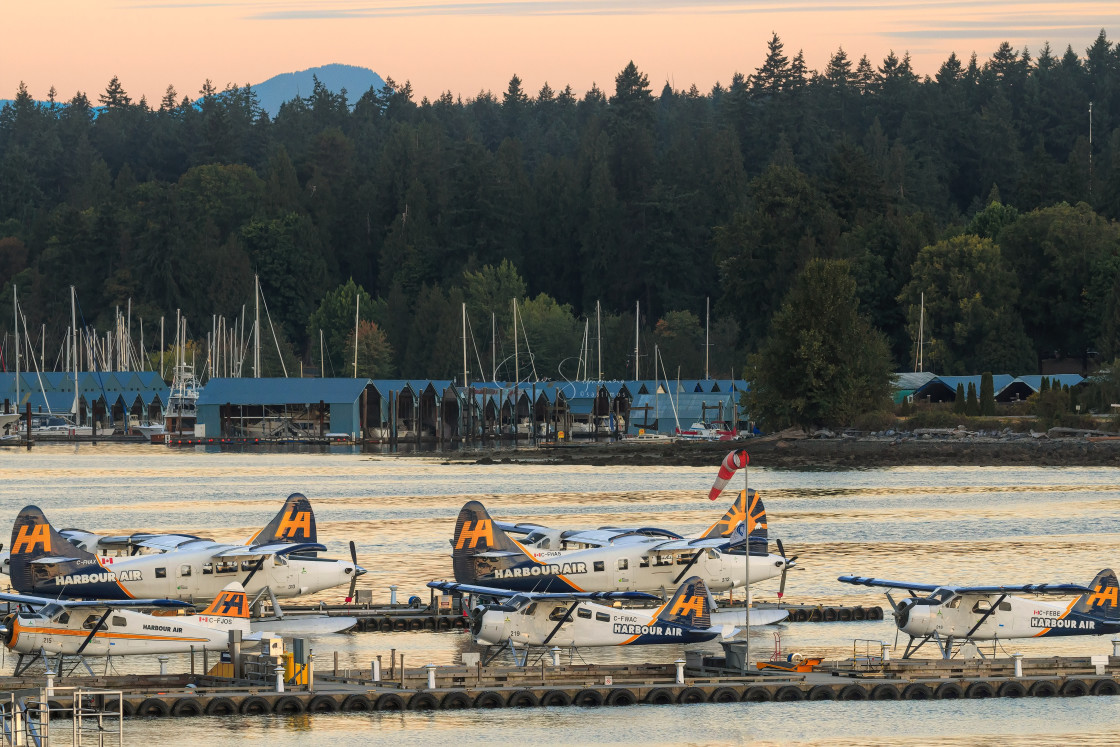 """""""Vancouver Seaplanes at Vancouver Harbour Water Aerodrome ."""" stock image"""