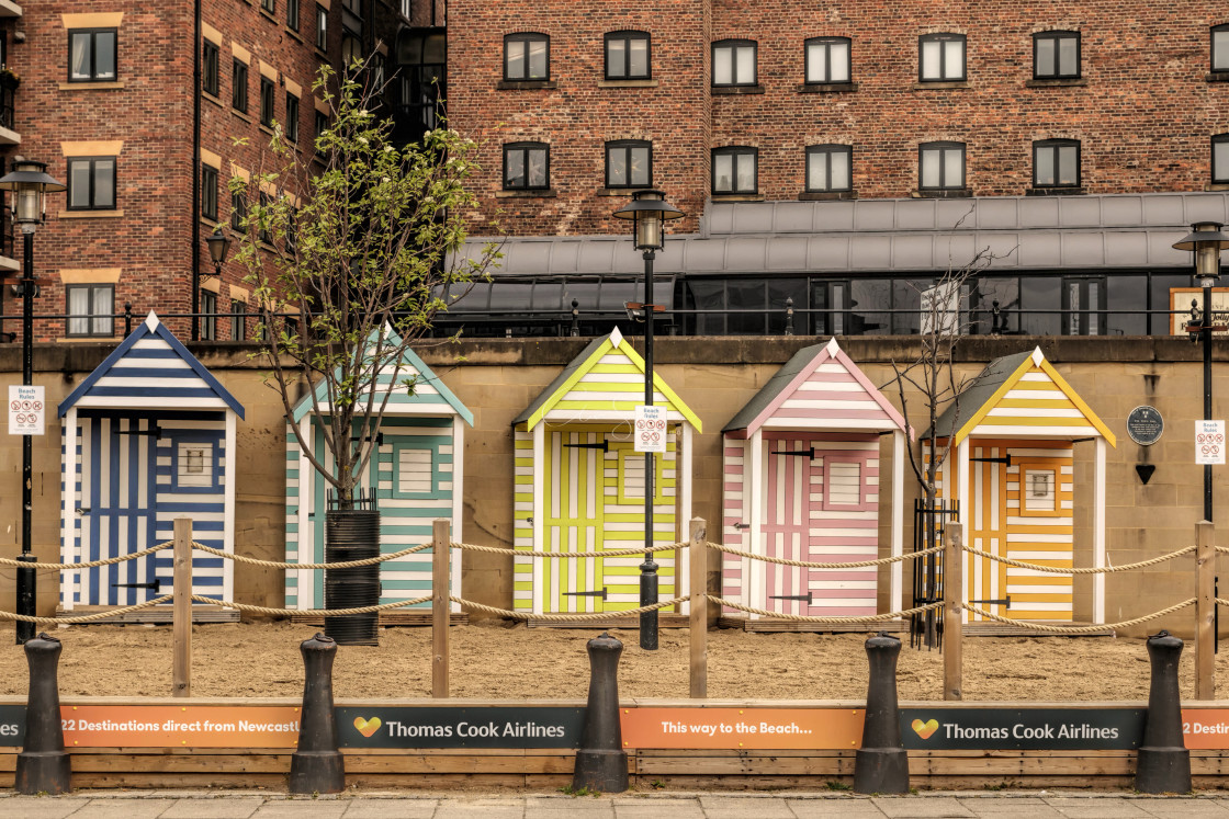 """Beach huts at the Newcastle Quayside Seaside"" stock image"
