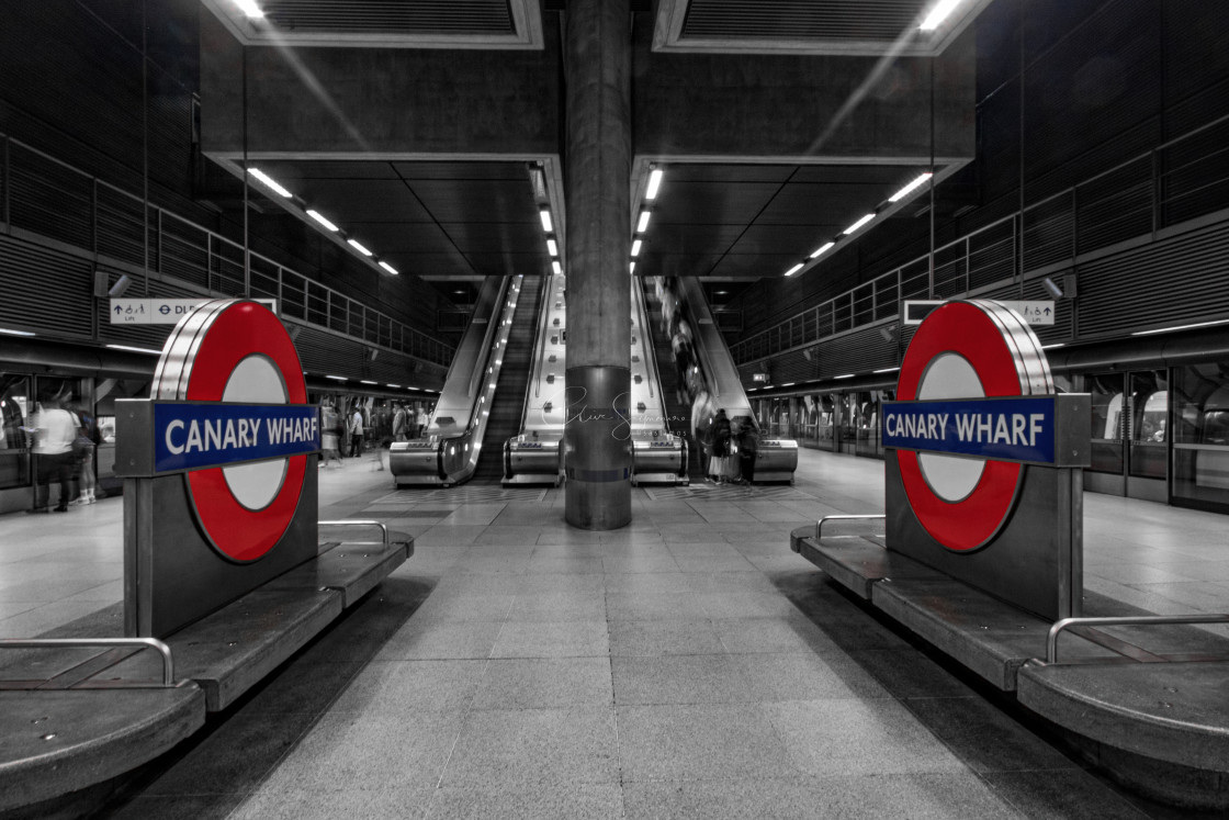 """A near deserted Canary Wharf underground station."" stock image"