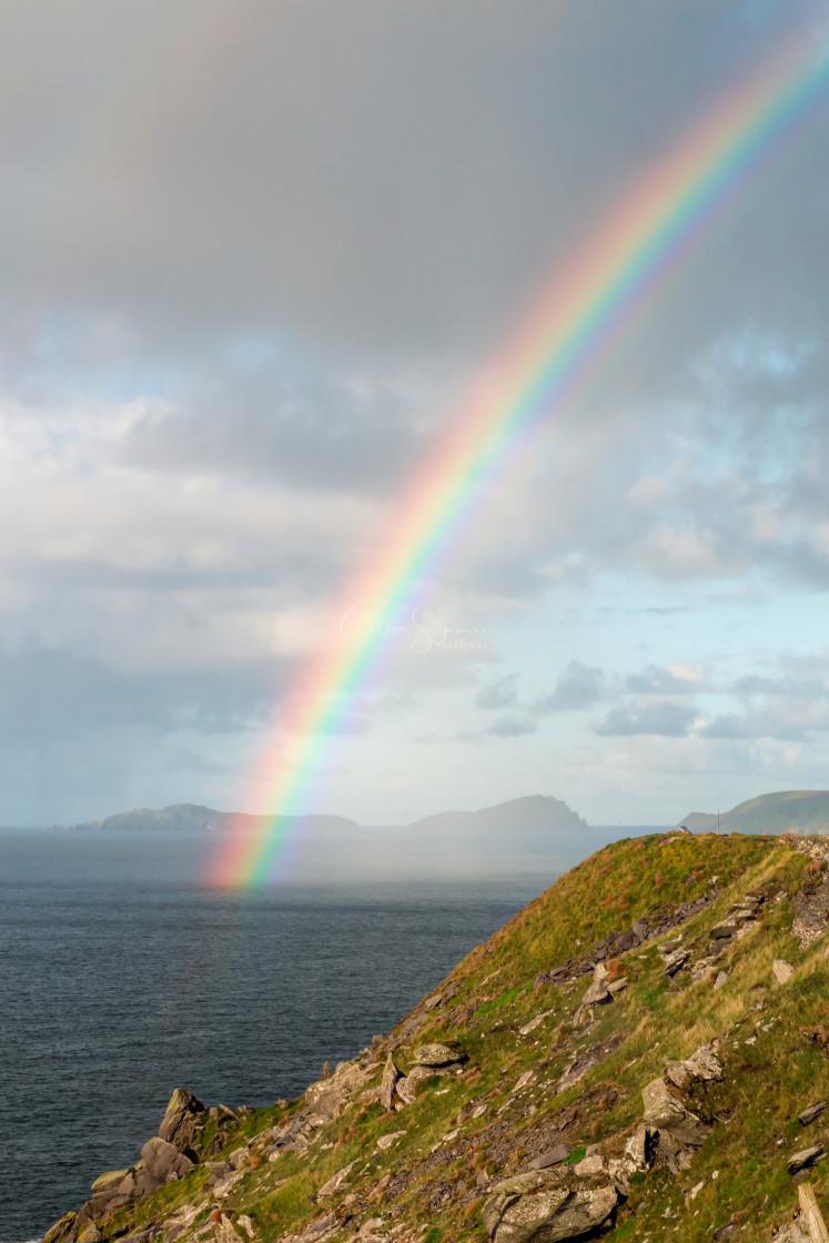 """Rainbow on the Atlantic ocean"" stock image"