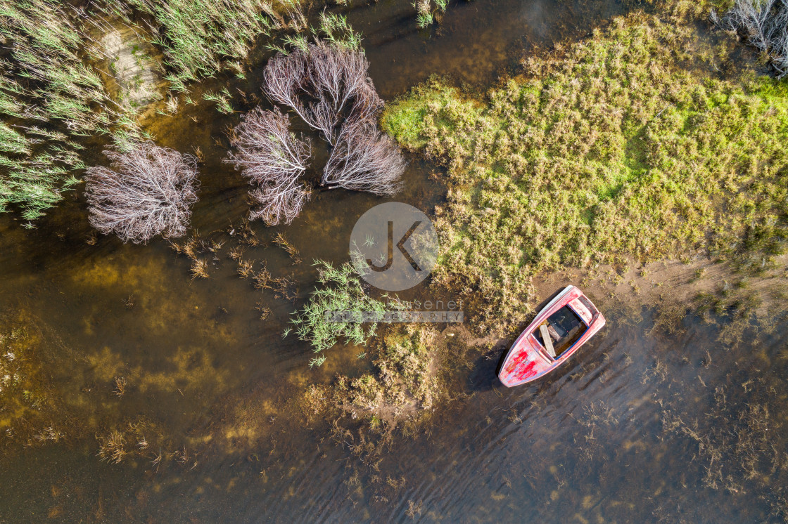 """""""Red Boat from above"""" stock image"""