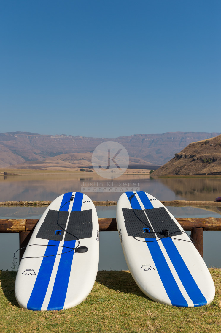 """""""Two Stand Up Paddle Boards"""" stock image"""