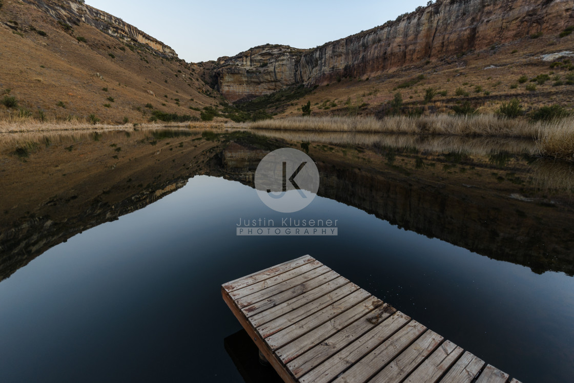 """""""Jetty dam and mountain"""" stock image"""