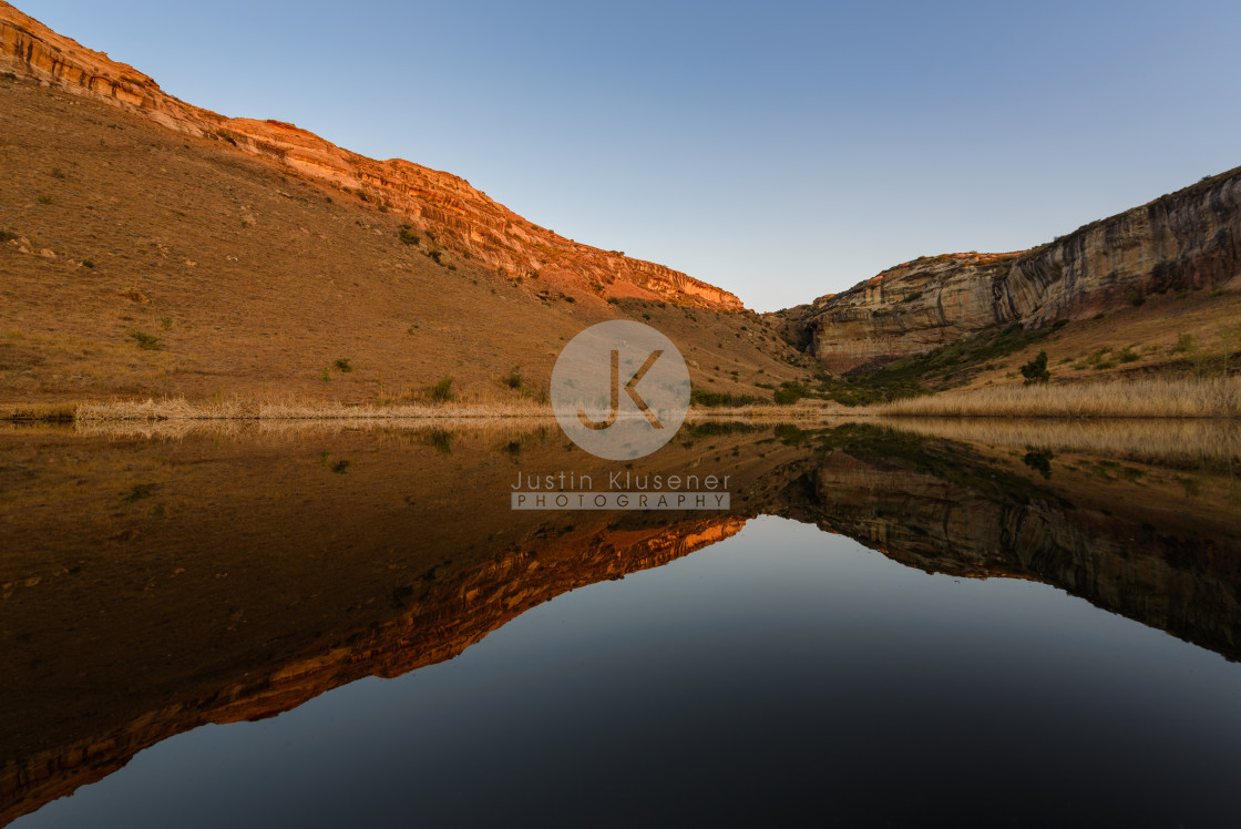 """Evening mountain reflection."" stock image"