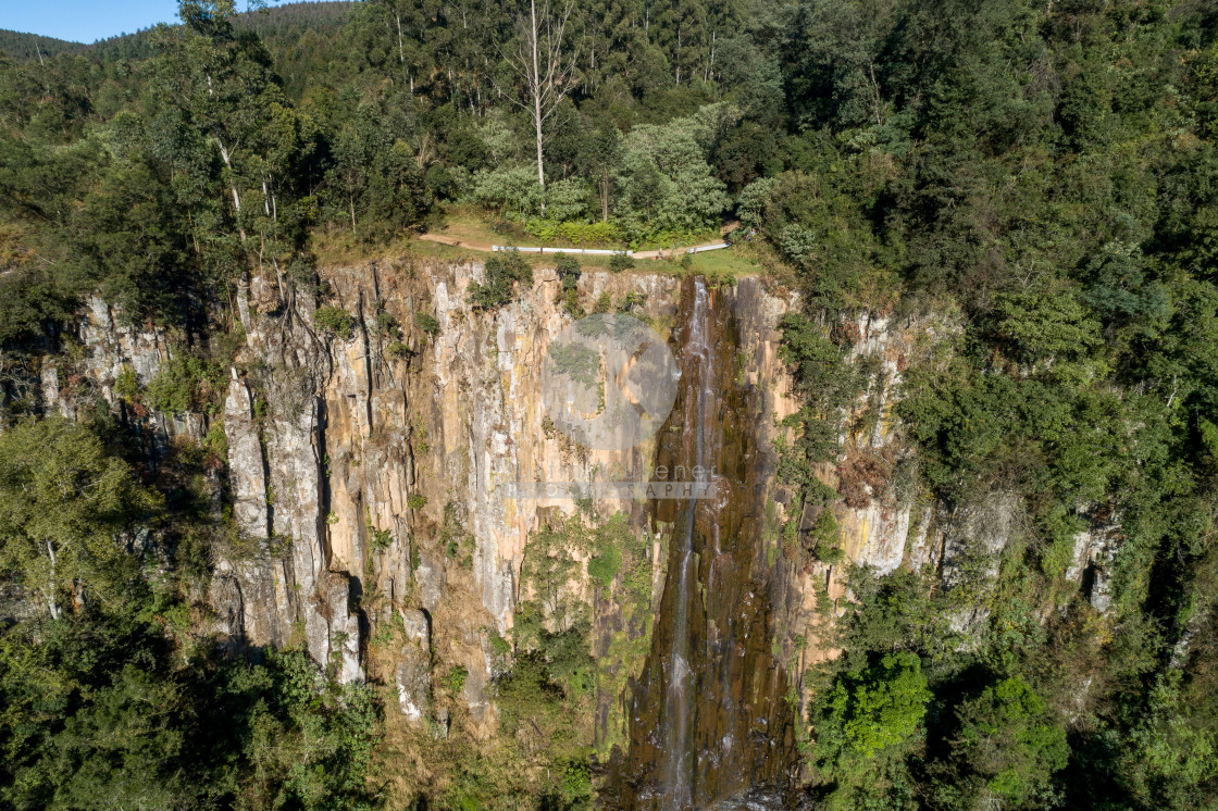 """Aerial of Qunu Falls"" stock image"