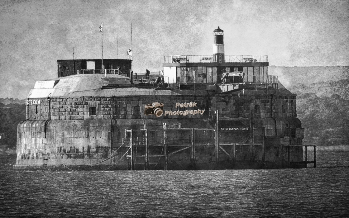 """""""1859 Spitbank Fort - Southsea - (Black & White)"""" stock image"""