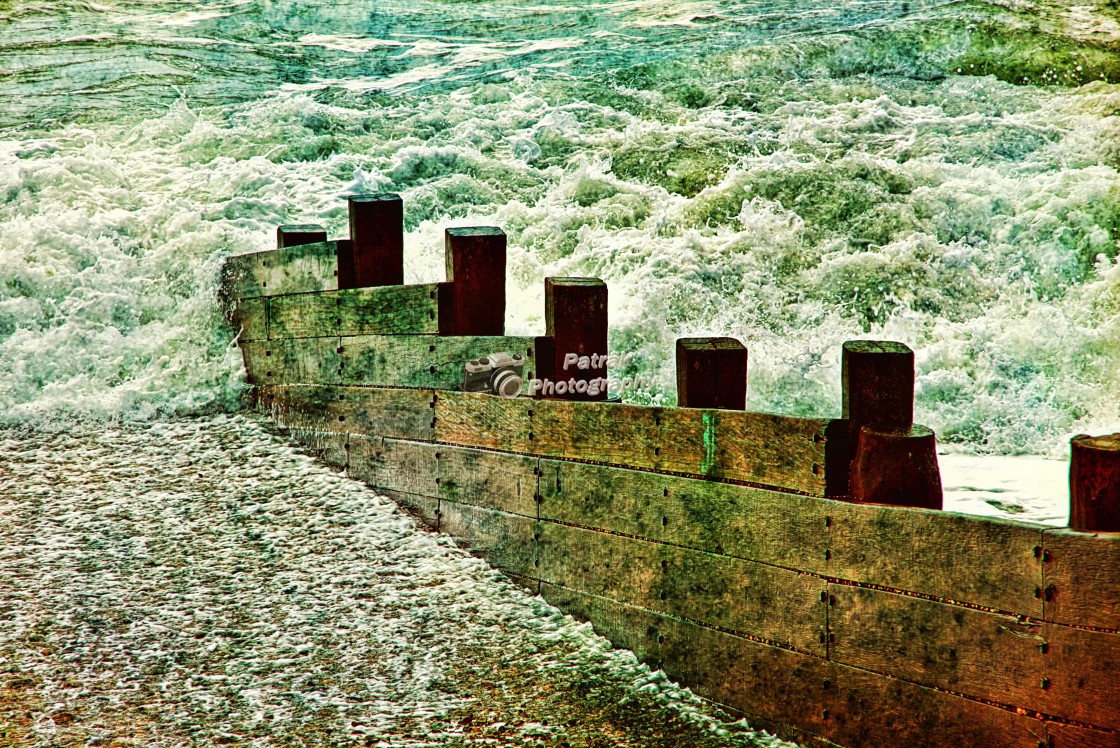 """""""Wooden Sea Defences"""" stock image"""