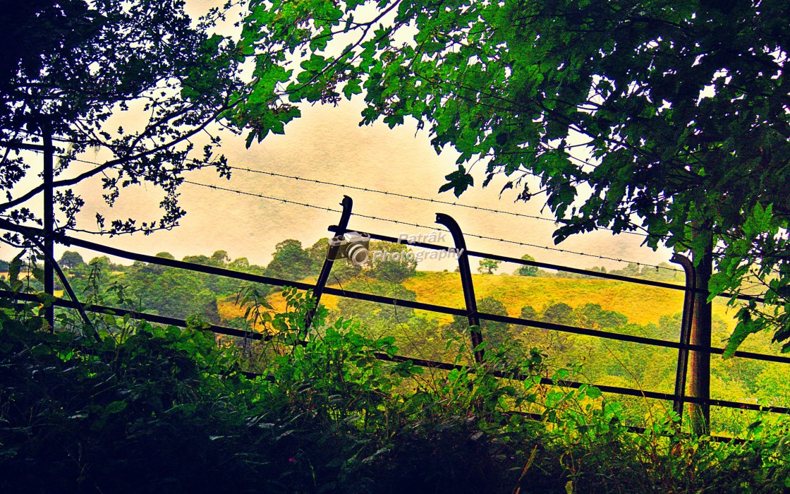 """""""Fence With A View - Garway, Herefordshire"""" stock image"""