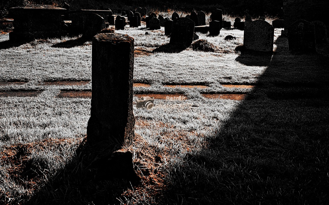 """Frosty Churchyard - Garway, Herefordshire"" stock image"
