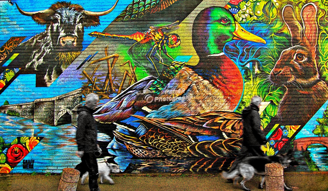 """""""The Dog Walkers - Aylestone Mural, Leicester"""" stock image"""