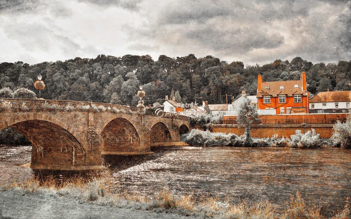 """18th Century Usk Bridge"" stock image"