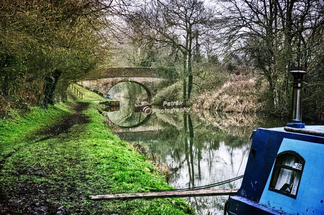 """Canal Bridge Reflection - Milton Lilbourne, Wiltshire"" stock image"