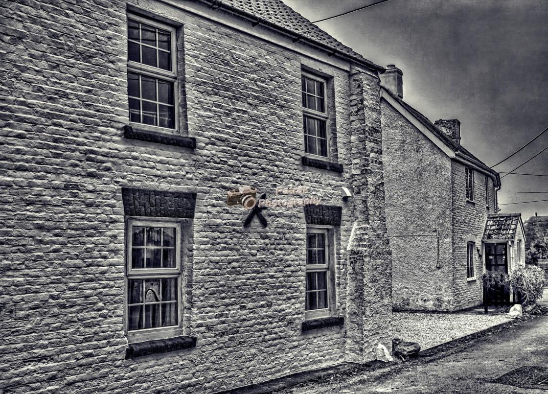 """""""Village Whitewashed Cottages"""" stock image"""