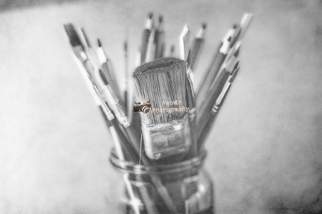 """""""Paint Brushes And Pencils - Black & White"""" stock image"""