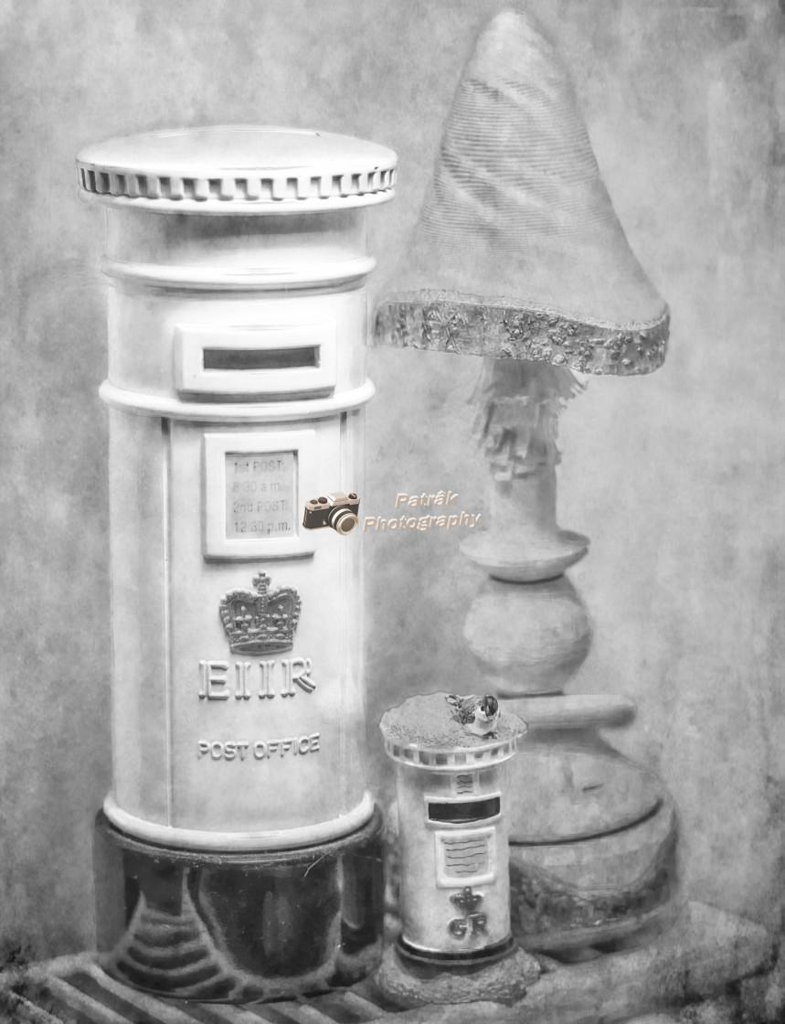 """Post Box's & Wooden Toadstool Still Life - Black & White"" stock image"