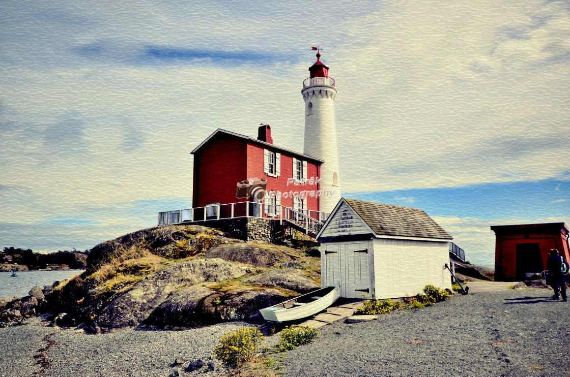 """1860 Fiskard Lighthouse - Colwood, Vancouver Island, BC"" stock image"