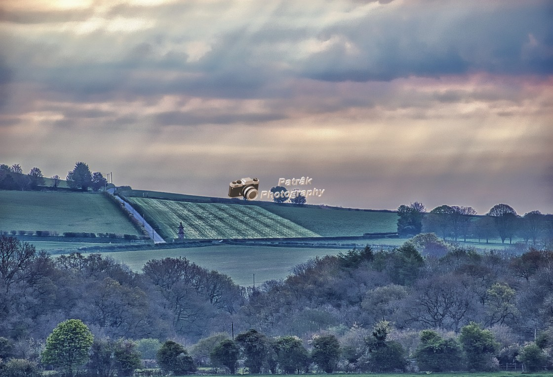 """""""Sun Rays Over Etchilhampton Hill"""" stock image"""