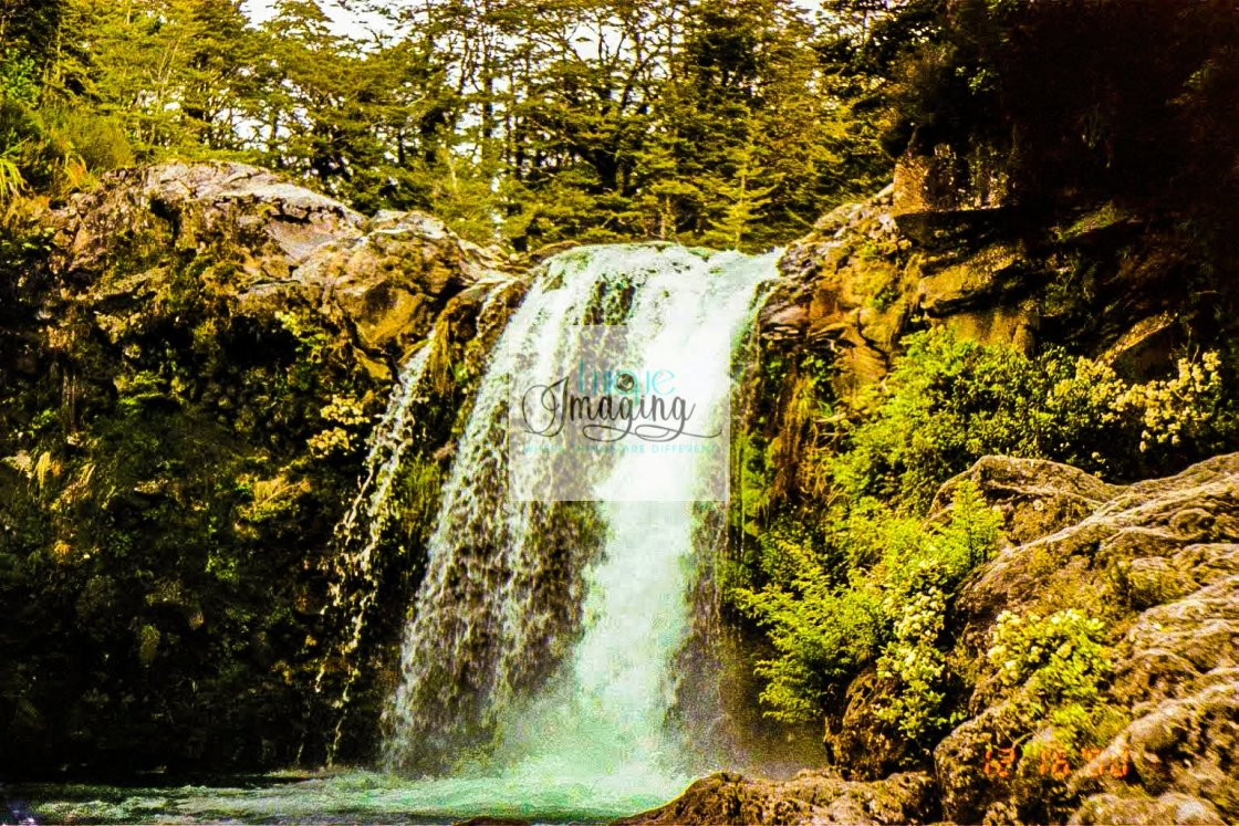 """New Zealand Waterfall"" stock image"