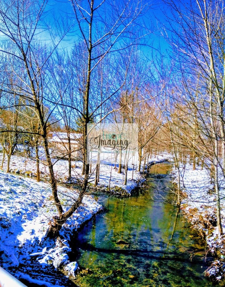 """Snowy Creek"" stock image"