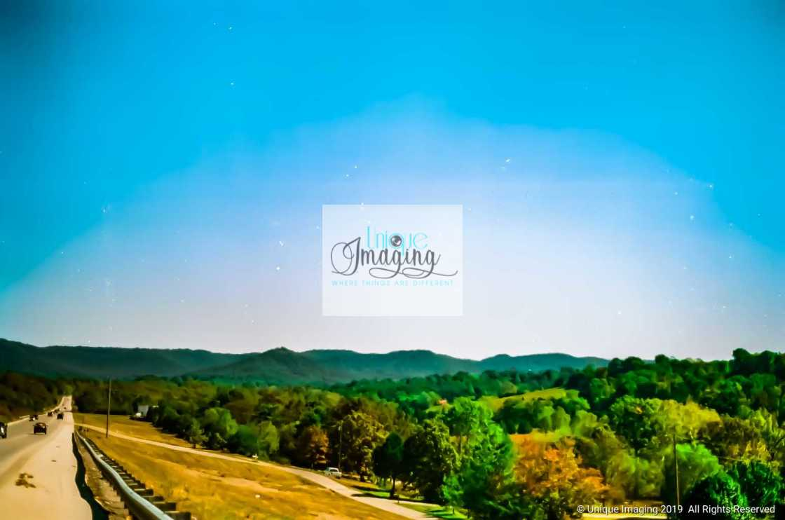 """""""A view of an upcoming town"""" stock image"""