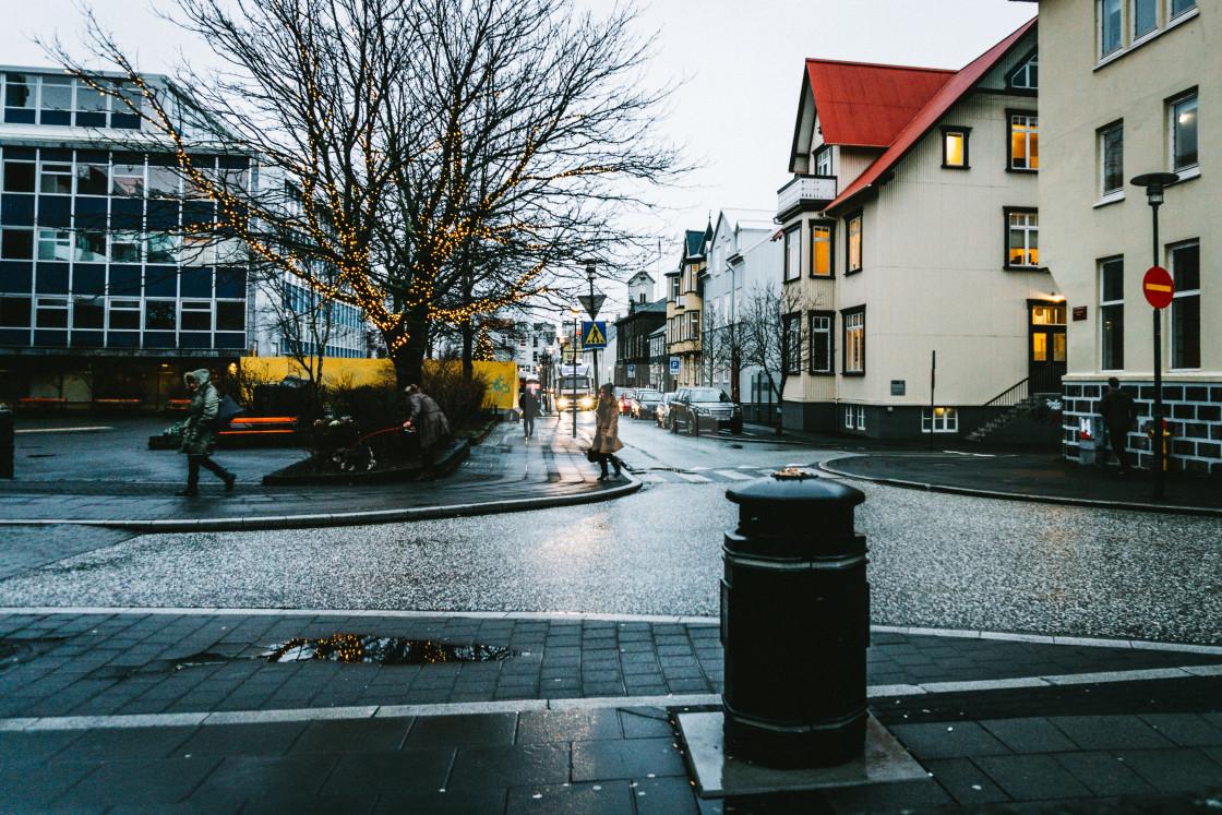 """""""City Street in Reykjavik in Winter"""" stock image"""