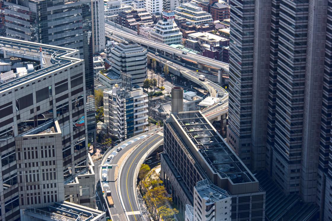 """""""Raised Expressway Winding Through Shinjuku Tokyo"""" stock image"""