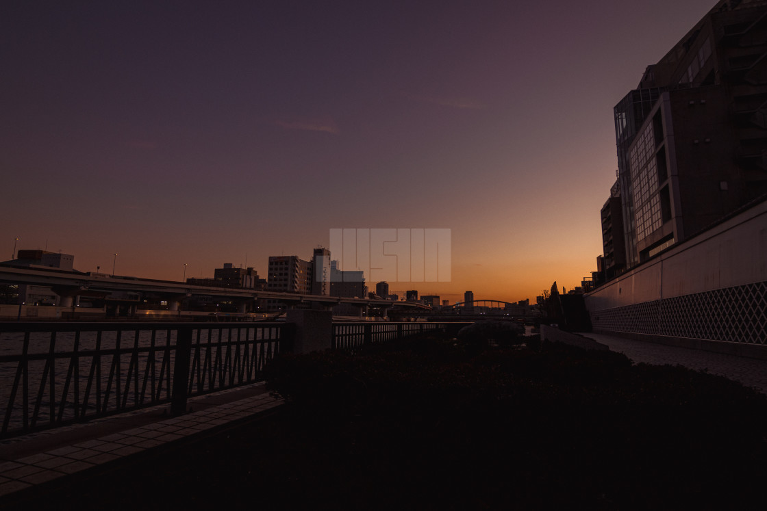 """Sunset Over the Sumida River"" stock image"