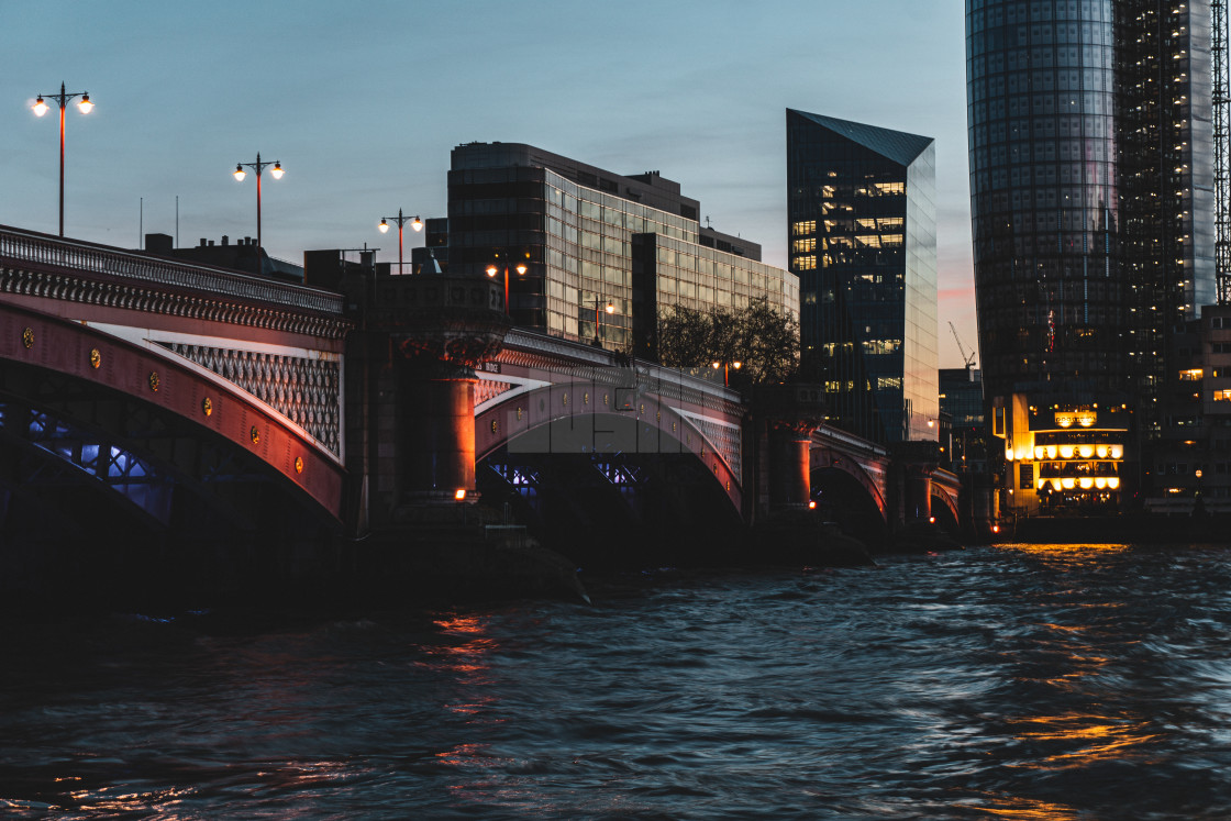 """Blackfriar's Bridge at Dusk in London England"" stock image"
