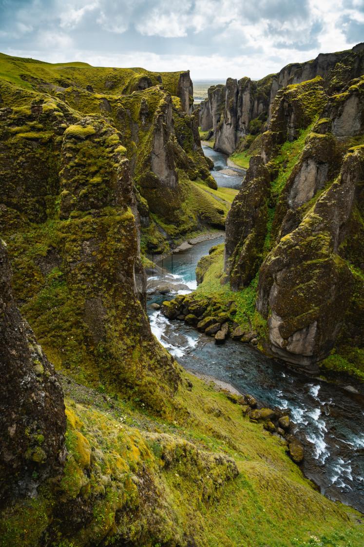 """Fjaðrárgljúfur, Mossy Icelandic Canyon"" stock image"