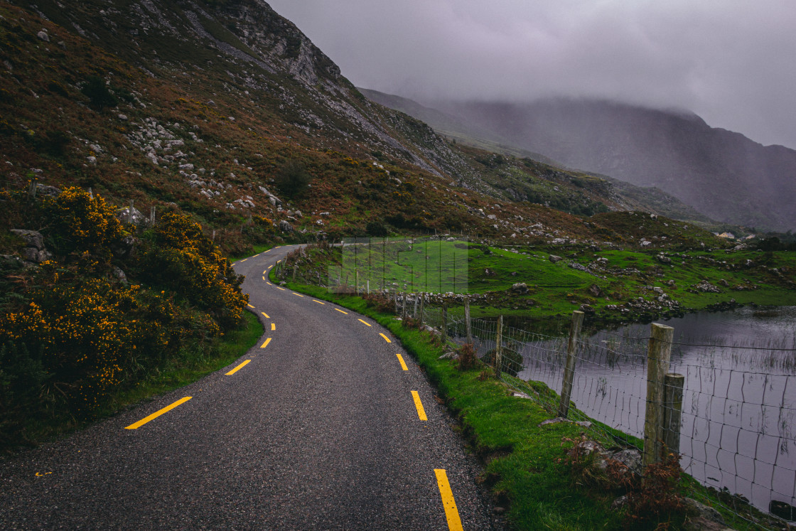 """Winding Road Through the Gap of Dunloe in County Kerry Ireland"" stock image"